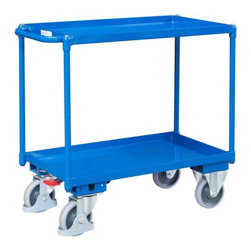 Policový vozík s madlem, do 400 kg, 2 police s vyvýšenými hranam