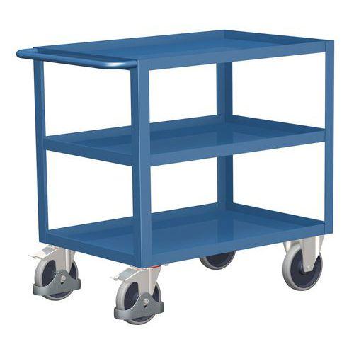 Policový vozík s madlem, do 400 kg, 3 police s vyvýšenými hranam