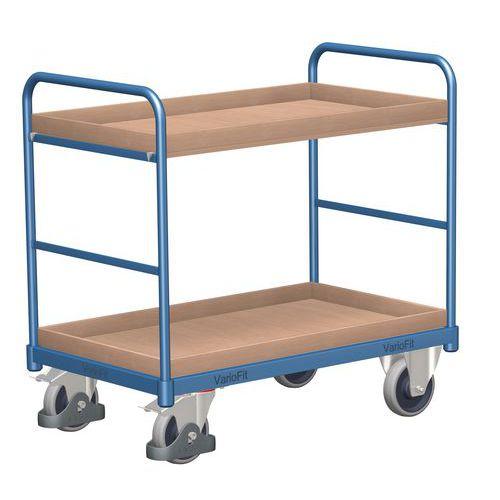 Policový vozík, do 250 kg, 2 police s vyvýšenými hranami, 98,6 x 126 x 80 cm