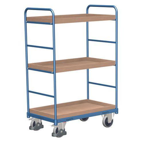Vysoký policový vozík do 250 kg, 3 police s vyvýšenými hranami,