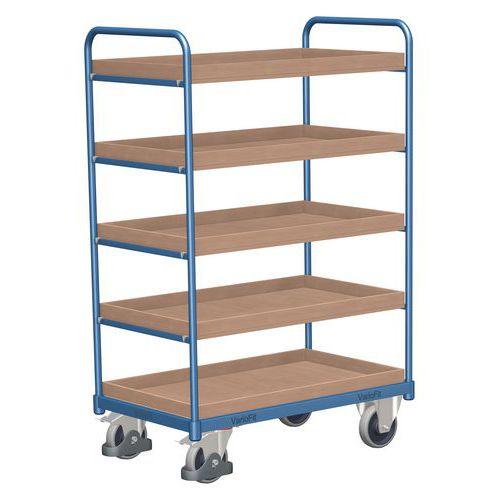 Vysoký policový vozík do 250 kg, 5 polic s vyvýšenými hranami, 1