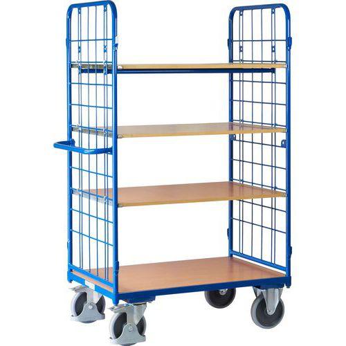 Vysoký policový vozík s madlem a mřížovými bočnicemi, do 500 kg, 4 police, 181,6 x 118,3 x 71,7 cm - Prodloužená záruka na 10 let