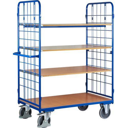 Vysoký policový vozík s madlem a mřížovými bočnicemi, do 500 kg, 4 police, 181,6 x 138,3 x 81,7 cm - Prodloužená záruka na 10 let