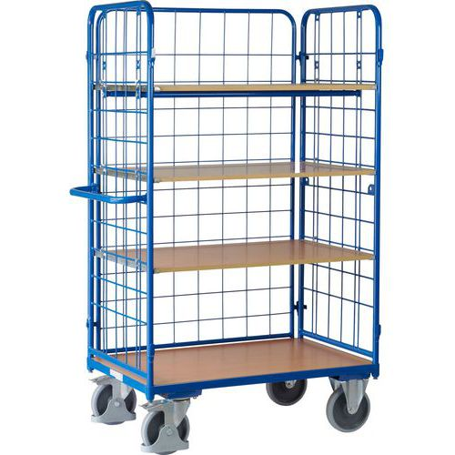 Vysoký policový vozík s madlem a mřížovými bočnicemi, do 500 kg, 4 police, 181,6 x 118,9 x 72,7 cm - Prodloužená záruka na 10 let