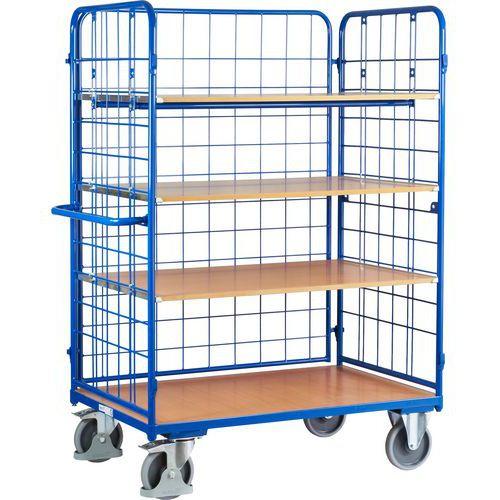 Vysoký policový vozík s madlem a mřížovými bočnicemi, do 500 kg, 4 police, 181,6 x 138,9 x 82,7 cm - Prodloužená záruka na 10 let