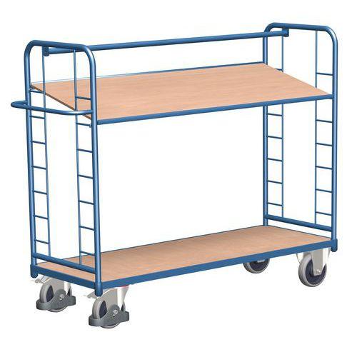Vysoký policový vozík s madlem a šikmými policemi, do 400 kg, 2