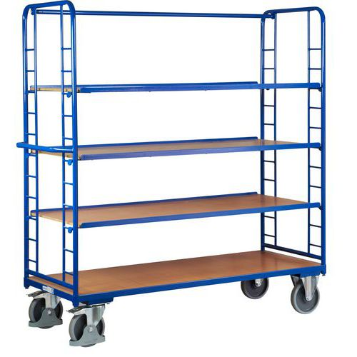 Vysoký policový vozík s madlem a šikmými policemi, do 400 kg, 4