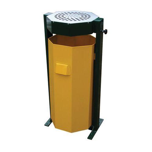 Kovový venkovní odpadkový koš s popelníkem, objem 60 l
