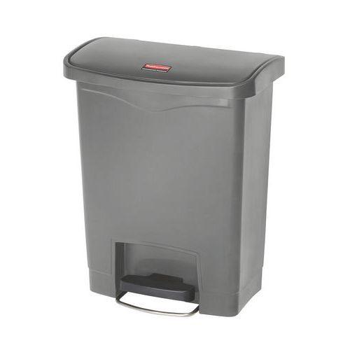 Plastový odpadkový koš Rubbermaid Front Step, objem 30 l, šedý