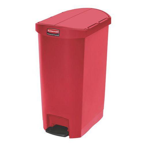 Plastový odpadkový koš Rubbermaid End Step, objem 50 l, červený - Prodloužená záruka na 10 let