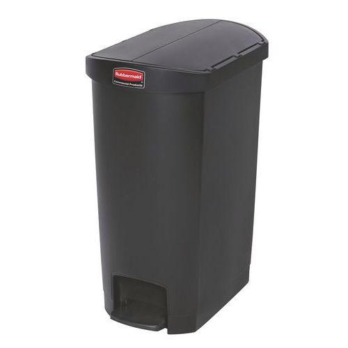Plastový odpadkový koš Rubbermaid End Step, objem 50 l, černý - Prodloužená záruka na 10 let