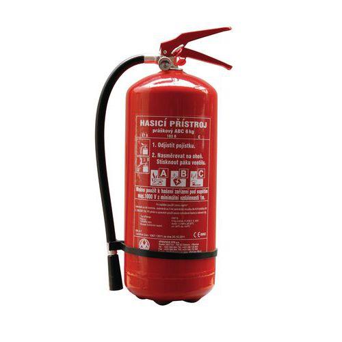 Práškový hasicí přístroj, 6 kg (27A, 183B, C), CZ etiketa