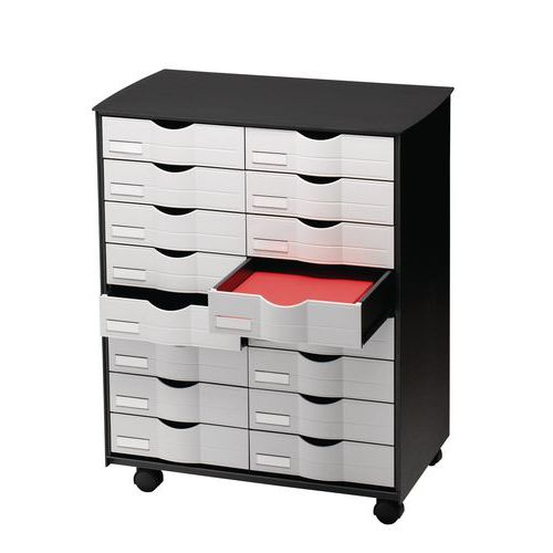 Mobilní zásuvkový kontejner, 16 zásuvek, černý/šedý