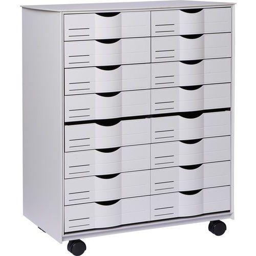 Mobilní zásuvkový kontejner, 16 zásuvek, šedý