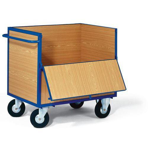 Skříňový vozík s madlem a plnými stěnami, do 400 kg, 1 sklopná s