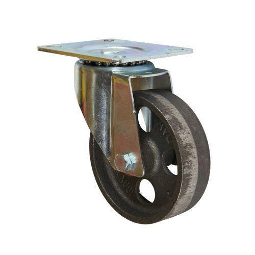 Litinové transportní kolo s přírubou, průměr 100 mm, otočné, klu