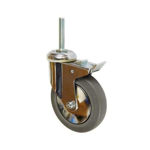 Gumové přístrojové kolo s čepem, průměr 125 mm, otočné s brzdou, kluzné ložisko
