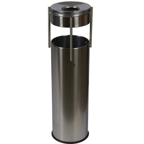 Kovový venkovní odpadkový koš Prestige Pillar s popelníkem, objem 15 l, matný nerez