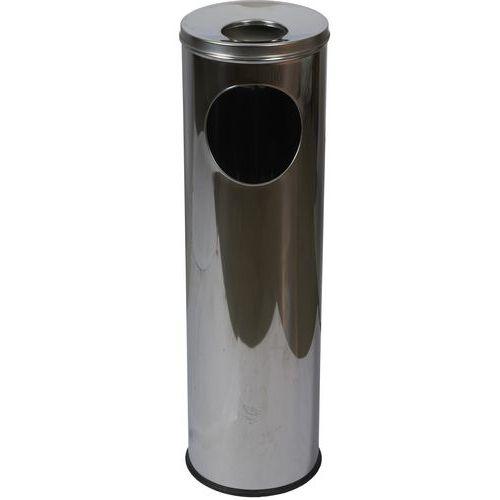 Kovový odpadkový koš Pillar s popelníkem, objem 15 l, lesklý ner