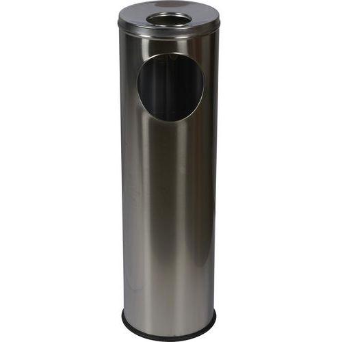 Kovový odpadkový koš Pillar s popelníkem, objem 15 l, matný nere