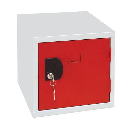Svařovaný šatní box Manutan John, šedý/červený