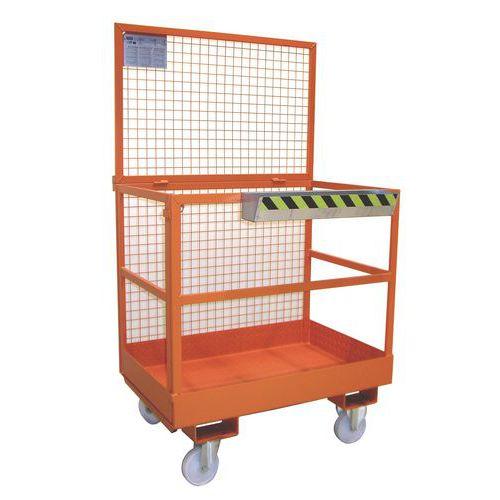 Pracovní klec pro vysokozdvižný vozík, rozměry 80 x 120 cm, mobilní