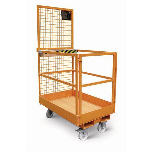 Pracovní klec pro vysokozdvižný vozík, rozměry 120 x 80 cm, mobilní
