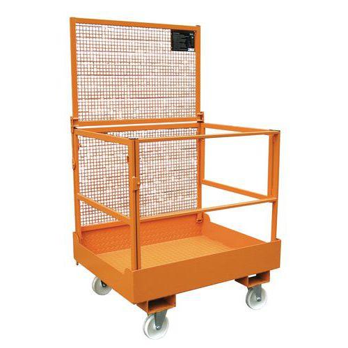 Skládací pracovní klec pro vysokozdvižný vozík, rozměry 100 x 120 cm, mobilní