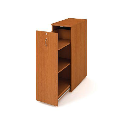 Přístavbová střední skříň, 117,7 x 40 x 80 cm, výsuvná se dvěma policemi - levé provedení, dezén třešeň - Prodloužená záruka na 10 let