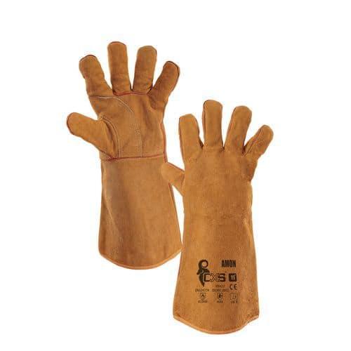 Svářečské kožené rukavice CXS, hnědé