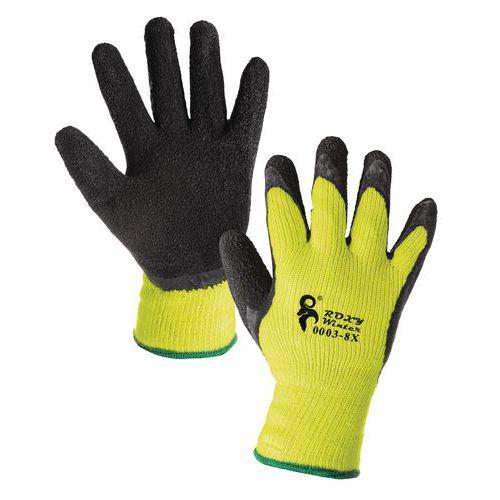 Zimní akrylové rukavice CXS polomáčené v latexu, žluté/černé, ve