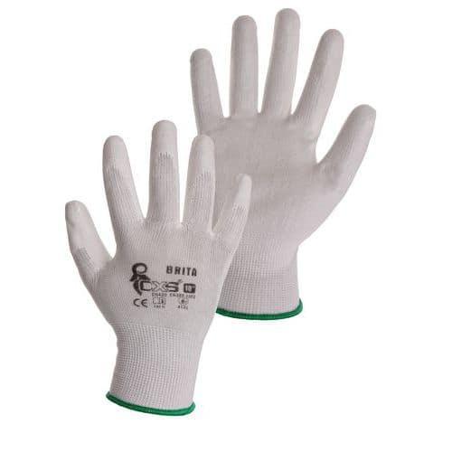 Polyesterové rukavice CXS polomáčené v polyuretanu, bílé