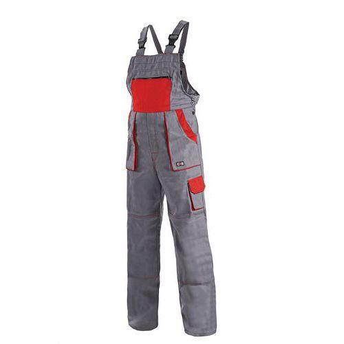 Pánské montérkové kalhoty CXS s laclem, šedé/červené