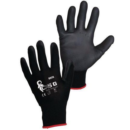 Nylonové polomáčené rukavice bez švů, vel. 10