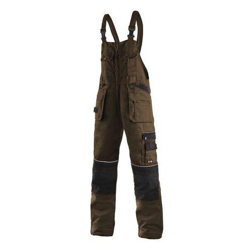 Pánské montérkové kalhoty CXS s laclem a reflexními prvky, hnědé/černé