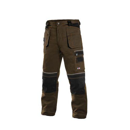 Pánské montérkové kalhoty CXS s reflexními prvky, hnědé/černé
