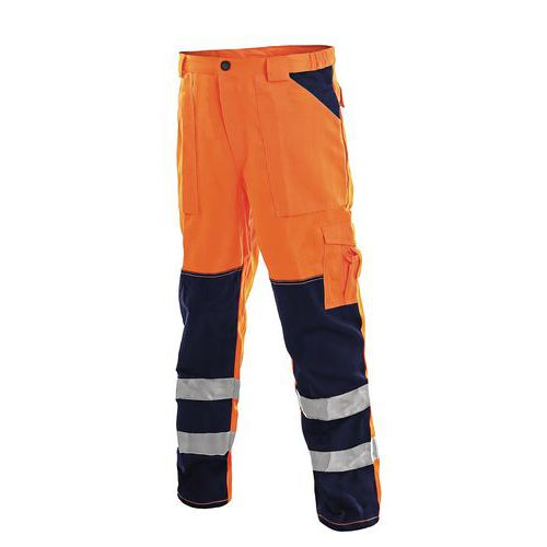 Pánské montérkové reflexní kalhoty CXS, oranžové/modré