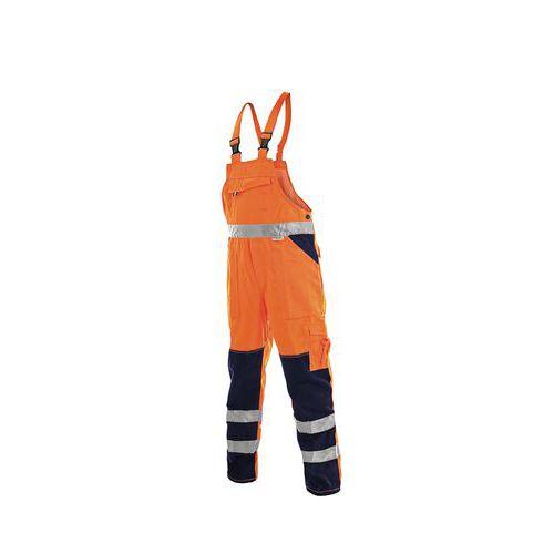 Pánské montérkové reflexní kalhoty CXS s laclem, oranžové/modré