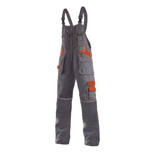 Pánské montérkové kalhoty CXS s laclem a reflexními prvky, šedé/oranžové