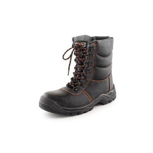 Zimní pracovní kožené poloholeňové boty CXS Stone s ocelovou špicí, černé