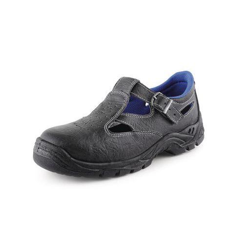 Kožené sandály CXS Dog Terier s ocelovou špicí, černé