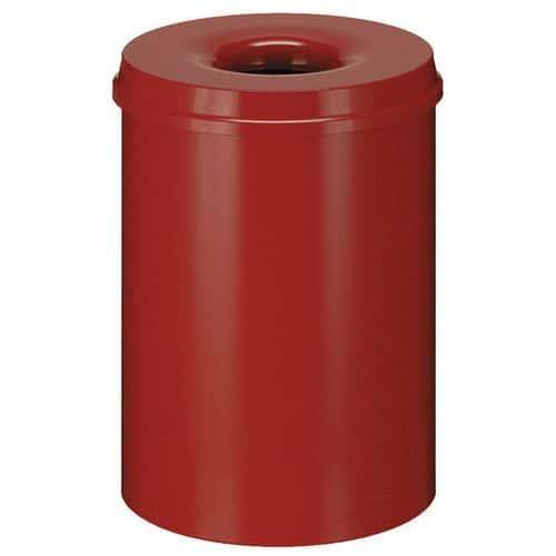Kovový samozhášecí odpadkový koš Hole, objem 80 l, červený