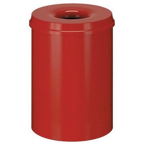 Kovový samozhášecí odpadkový koš Hole, objem 30 l, červený