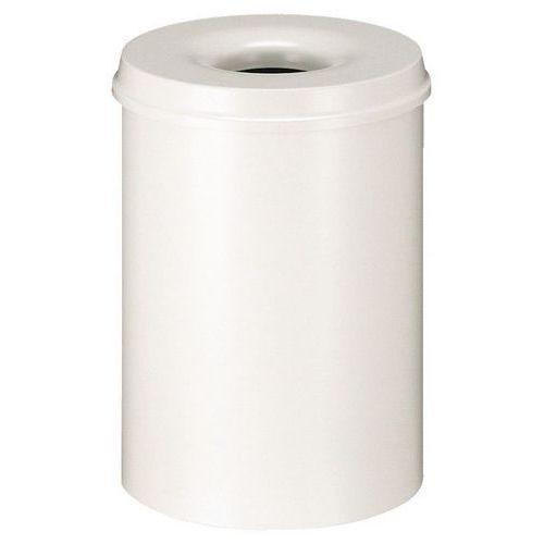 Kovový samozhášecí odpadkový koš Hole, objem 30 l, bílý