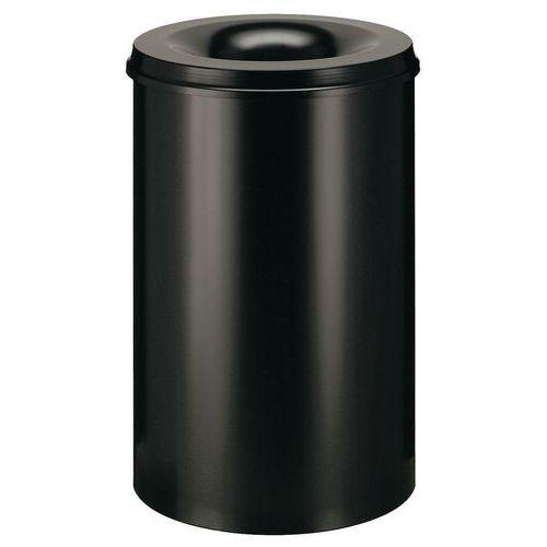 Kovový samozhášecí odpadkový koš Hole, objem 50 l, černý