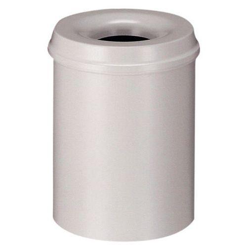 Kovový samozhášecí odpadkový koš Hole, objem 110 l, šedý