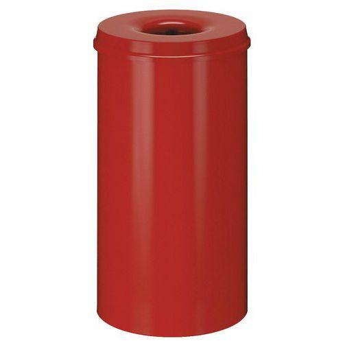 Kovový samozhášecí odpadkový koš Hole, objem 50 l, červený