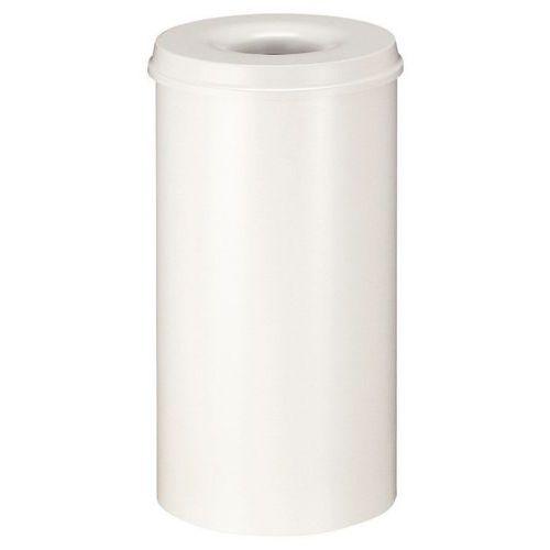 Kovový samozhášecí odpadkový koš Hole, objem 50 l, bílý
