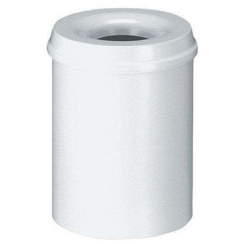 Kovový samozhášecí odpadkový koš Hole, objem 110 l, bílý