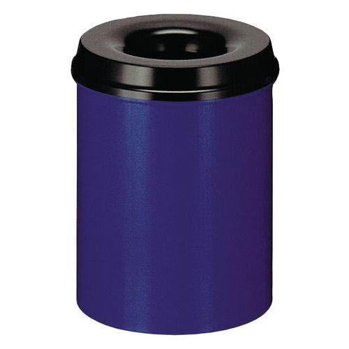 Kovový samozhášecí odpadkový koš Hole, objem 15 l, modrý